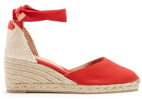 69d71bf99a4 Carina 60 Canvas And Jute Espadrille Wedges - Womens - Red