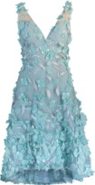 Marchesa High Low 3D Petal Cocktail Dress