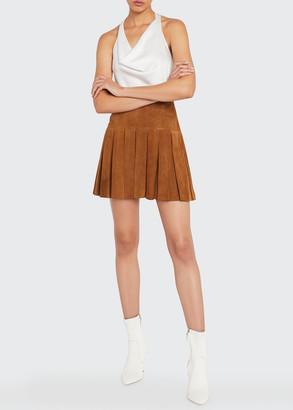 Alice + Olivia Emilie Box-Pleated Suede Mini Skirt