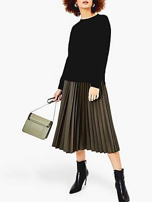 Oasis Faux Leather Pleated Skirt, Khaki