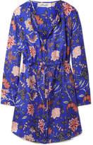 Diane von Furstenberg Floral-print Silk-twill Mini Dress - Bright blue