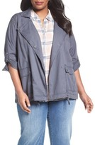 Plus Size Women's Caslon Roll Sleeve Drape Utility Jacket