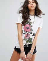 Missguided Lover Slogan Rose Print T-Shirt