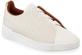 Ermenegildo Zegna Men's Triple-Stitch Pelle Tessuta Low-Top Sneakers