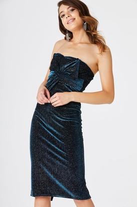 Girls On Film Rachel Teal Velvet Stripe Midi Dress