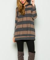 Sweet Pea Mocha & Gray Stripe Hooded Tunic