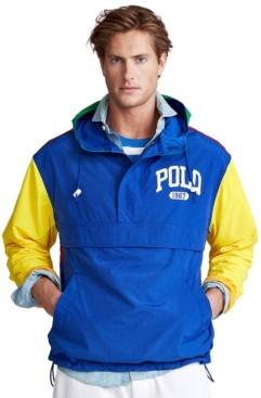 Polo Ralph Lauren Men's Big & Tall Color-Blocked Graphic Logo Pullover Windbreaker