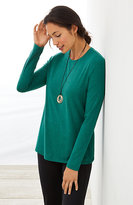 J. Jill Pure Jill Stretch-Cotton Crew-Neck Tee