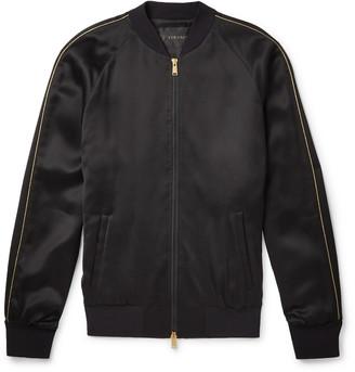 Versace Crystal-Embellished Satin Bomber Jacket