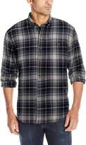 G.H. Bass & Co. Men's Long Sleeve Fireside Plaid Flannel Shirt, Dark