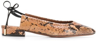 L'Autre Chose Snakeskin-Effect Backless Ballerina Shoes
