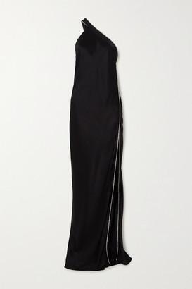 Mason by Michelle Mason One-shoulder Crystal-embellished Silk-satin Gown - Black