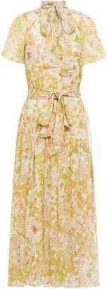 Zimmermann Tie-neck Floral-print Silk-georgette Midi Dress