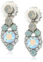 """Sorrelli Teal Textile"""" Assorted Round Crystal Dainty Drop Earrings"""