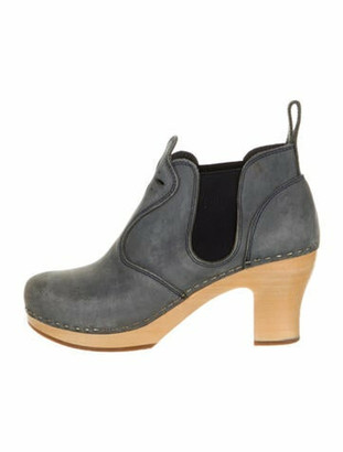 Swedish Hasbeens Calf Leather Chelsea Boots Grey