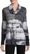 Alberto Makali Paneled-Print Cowl-Neck Tunic, Gray