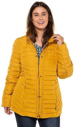 Ulla Popken Down Padded Hooded Jacket with Pockets