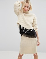 STYLE NANDA STYLENANDA High Neck Sweater With Distressing Co-Ord
