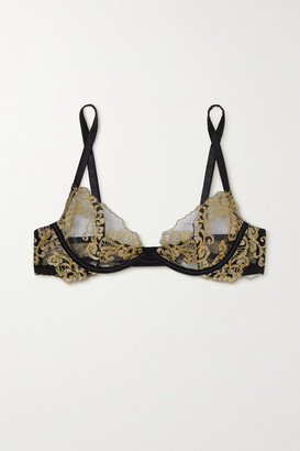 Coco de Mer Hikaru Metallic Lace And Satin Underwired Soft-cup Bra - Black