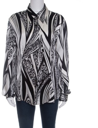 Just Cavalli Monochrome Printed Silk Long Sleeve Blouse L