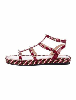 Valentino Rockstud Accents Patent Leather Gladiator Sandals Red
