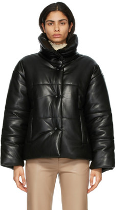 Nanushka Black Vegan Leather Hide Puffer Jacket