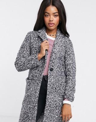 JDY longline jacket in gray boucle mix