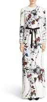 Erdem Women's Agnes Belted Floral Print Silk Gown