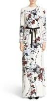 Erdem Women's Agnes Belted Floral Print Silk Gown