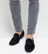 Silver Street Wide Fit Patent Tassel Loafers In Black Suede