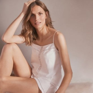 The White Company Cotton Jersey Lace-Insert Pyjama Set, White, Large