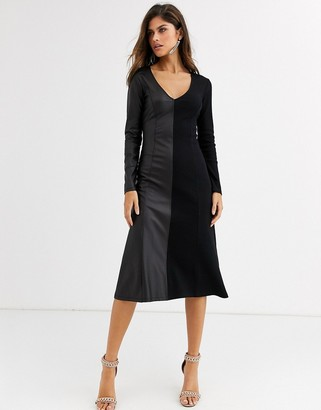 Asos Design DESIGN Long sleeve half and half rib leather look dress-Black