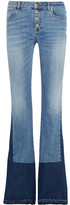 Roberto Cavalli Two-tone Mid-rise Bootcut Jeans - Dark denim