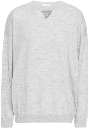 Brunello Cucinelli Bead-embellished Melange Wool And Cashmere-blend Sweater