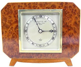 One Kings Lane Vintage English Deco Burl Walnut Clock - Schorr & Dobinsky