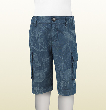 Gucci Blue And Light Blue Denim Bermuda Short With Flora Print