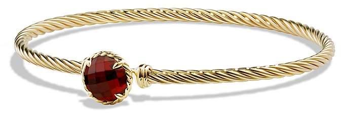 David Yurman Ch'telaine Bracelet with Garnet in 18K Gold