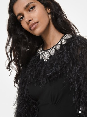 Michael Kors Feather and Crystal-Embroidered Silk-Georgette Ruffle Gown