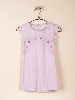 Indi&Cold - Embroidered Sleeveless T Shirt In Lilac - XS