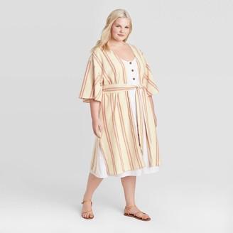 Universal Thread Women' Plu ize triped Circle leeve Kimono - Univeral ThreadTM