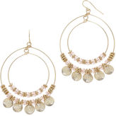 MIXIT Mixit Pink Bead Double-Wire Hoop Earrings