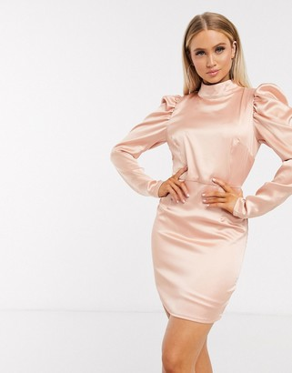 Club L London Cub L London high neck satin dress in peach