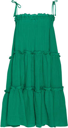 Lisa Marie Fernandez Drop-Shoulder Tiered Ruffled Linen-Blend Dress