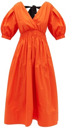 Self-Portrait Tie-back Tiered V-neck Cotton Midi Dress - Orange