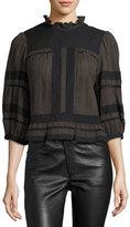 Isabel Marant Ritz 3/4-Sleeve Cotton Blouse, Bronze