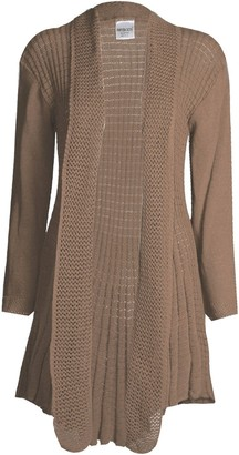 Unknown Fast Fashion Womens Wool Jacket Cardigan Long-Sleeved Plain Crochet Knitted Waterfall - brown - One size