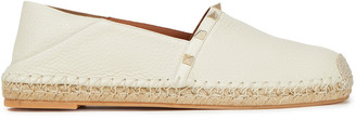 Valentino Rockstud Textured-leather Espadrilles