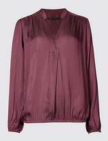 M&S Collection Popover Notch Neck Long Sleeve Blouse