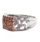 Savvy Cie Cognac & White Diamond Pave Ring - 0.45 ctw
