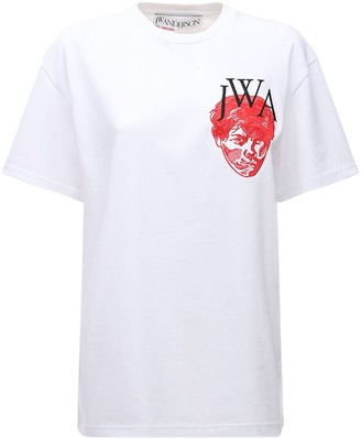 J.W.Anderson Face Embroidered Cotton Jersey T-Shirt